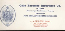 OLD Farmers Ins. ink blotter, Plymouth IN