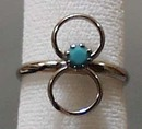 Simulated Turquoise Silver Tone Ring