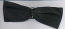 Black ribbon bow with rhinestone pin.  Pin is