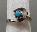 Simulated Turquoise & Silver Tone Ring