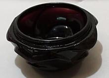 Black Glass Small Dish Amethyst Black