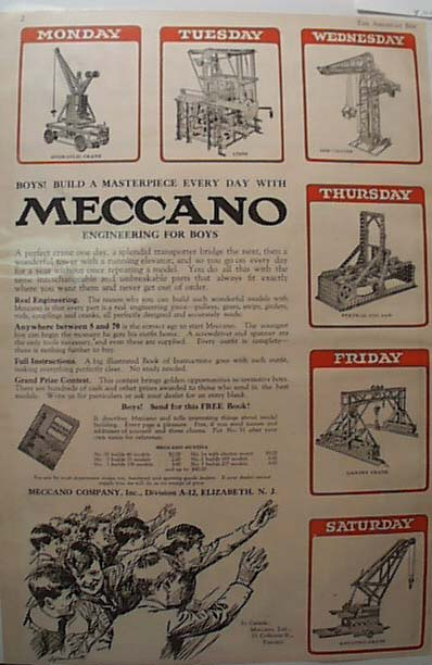 1923 Meccano Engineering toy set Ad Toronto