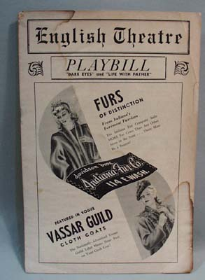 English Theatre 1943 Playbill for Dark Eyes