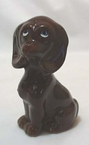 Brown Hound Dog Ceramic Figurine