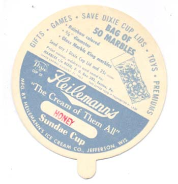 Dixie Cup lid, advertising marbles, Heilemann