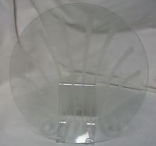 Round plate glass tray with sea shell etching