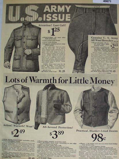 Sears Army Issue Breeches and Vests 1936 Ad