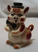Ceramic Stoneware Pig With Hat Shaker Older