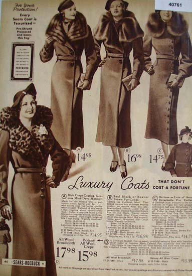 Sears Womens Luxury Coats 1936 Ad