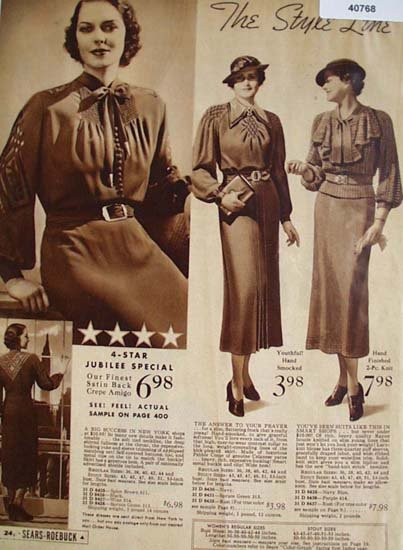Sears Womens Style Line Dresses 1936 Ad