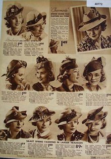 Sears Womens Hats 1938 Ad