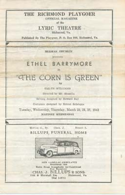 Playbill The corn is green, 1943, Barrymore