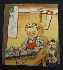 Mini puzzle Boy & Dog OLD! Original envelope