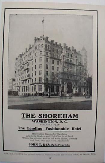 1912 Shoreham Hotel Washington DC