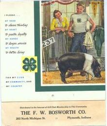 1957 4-H calandar, F.W. Bosworth Co. Plymouth Indiana