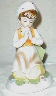 Porcelain Maiden girl praying in the garden