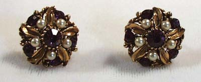 Faux Amethyst & Faux Pearl Earrings