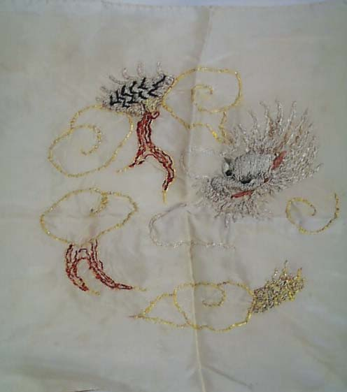 Scarf,Silk , hand embroidered