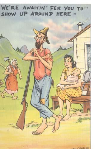 Walt Munson hillbilly family card, humorous