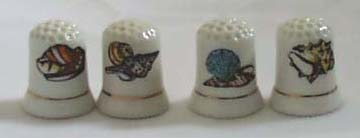 Porcelain sea shells set of 4 Thimbles