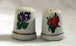 Porcelain flower set of  2 Thimbles