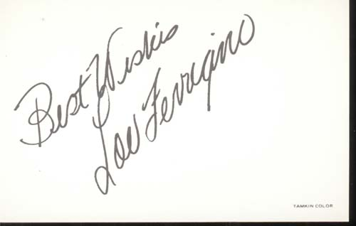Lou Ferrigino postcard signed Best Wishes