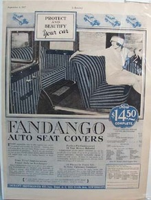 1927 Fandango Seat Cover Ad  Sept 1927