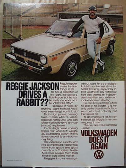 Reggie Jackson Drives Rabbit VW 1978 Ad