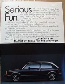 1984 GTI Volkswagen Ad
