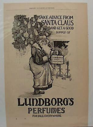 Dec 1894 Santa with Lundborgs Perfumes Ad