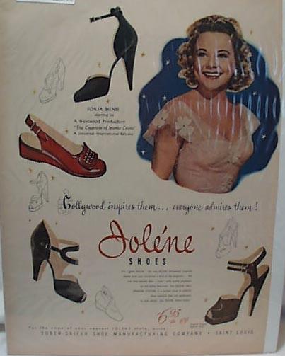 Jolene FASHION HIGH HEEL 1948 Ad Sonja Henie