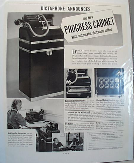 1938 Dictaphone Machine Advertisment