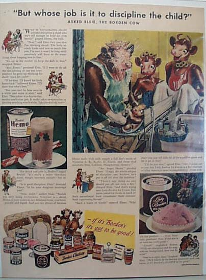 Elsie & Family Borden Cow 1947 Ad