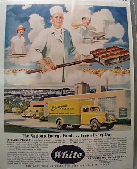 1942 White Bread Truck Sunnyside Bakeries Ad