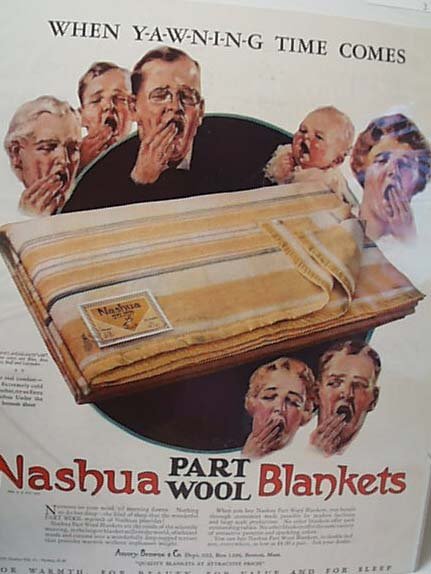 Nashua Blanket ad, 1928, Boston