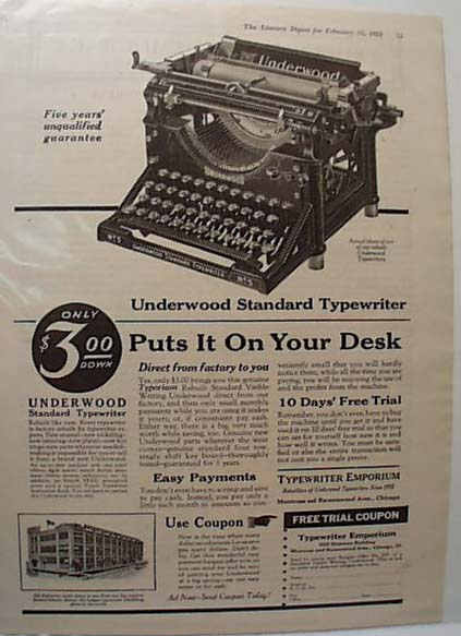 Underwood Standard Typewriter 1921 Ad
