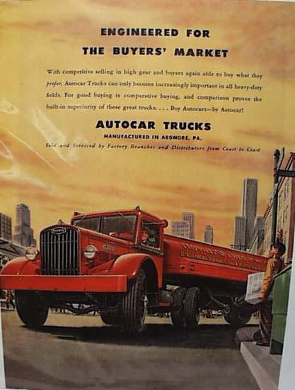 Autocar Trucks Ad 1947 Red Truck
