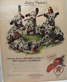 Texaco 1953 Ad 5 Dalmations And Crochet Set