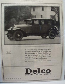 Delco Battery In Cadillac Car 1925 AD