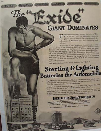 Excide Battery 1918 Ad