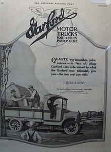 Garford Motor Trucks Show Milk Pickup 1919 Ad