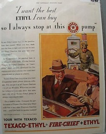 Texaco Ethyl Fire Chief Fuel 1933 Ad