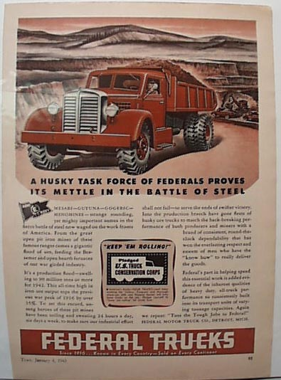 Federal Excavating 1943 Truck Ad