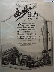 Garford 1919 Motor Truck Ad Lima Ohio