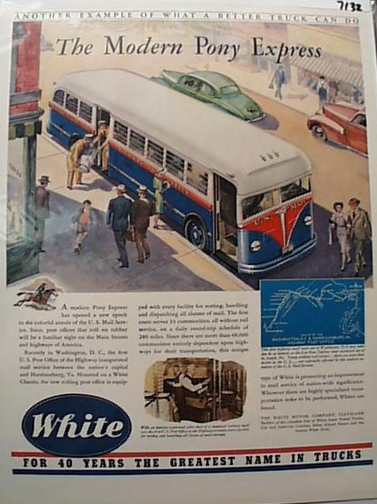 White Bus 1941 Ad Modern Pony Express Of Mail