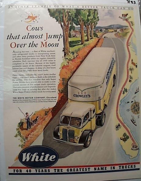 White Truck 1941 Ad Crowleys Dairy  NY to Fl