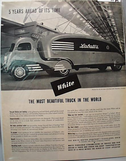White Truck 1937 Ad Ahead Of ItsTime Labatts
