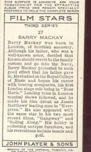 Barry Mackay Film Star  Tinted Card 1938