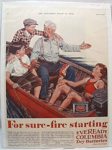 Eveready Dry Batteries for Boat  1928 Ad