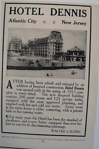 Hotel Dennis 1912 Ad